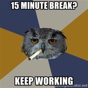 Art Student Owl - 15 MINUTE BREAK? KEEP WORKING