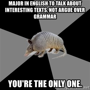 English Major Armadillo - Major in english to talk about interesting texts, not argue over grammar You're the only one.