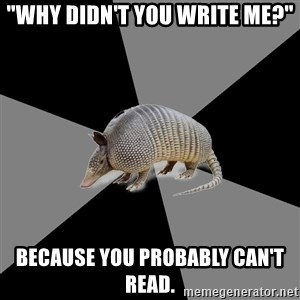 """English Major Armadillo - """"Why didn't you write me?"""" Because you probably can't read."""