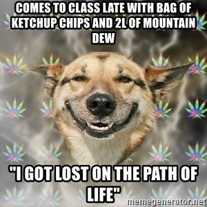 "Stoner Dog - COMES TO CLASS LATE WITH BAG OF KETCHUP CHIPS AND 2L OF MOUNTAIN DEW ""I got lost on the path of life"""