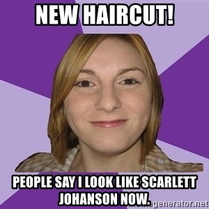 Generic Fugly Homely Girl - new haircut! people say i look like scarlett johanson now.