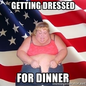 Asinine America - getting dressed for dinner