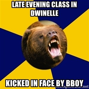 Berkeley Student Bear - Late evening class in Dwinelle kicked in face by bboy