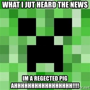 Minecraft Creeper Meme - what i jut heard the news IM A REGECTED PIG AHHHHHHHHHHHHHHHHH!!!!