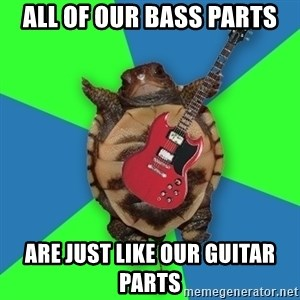 Aspiring Musician Turtle - ALL OF OUR BASS PARTS ARE JUST LIKE OUR GUITAR PARTS