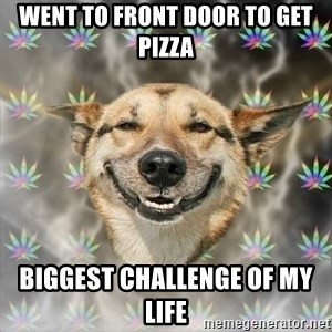 Stoner Dog - went to front door to get pizza biggest challenge of my life