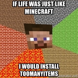 Minecraft Guy - IF LIFE WAS JUST LIKE MINECRAFT I WOULD INSTALL TOOMANYITEMS