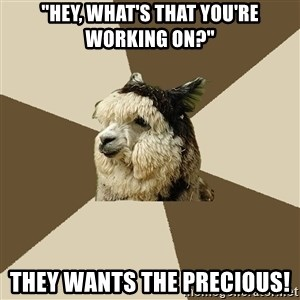 """Fyeahknittingalpaca - """"hey, what's that you're working on?"""" they wants the precious!"""