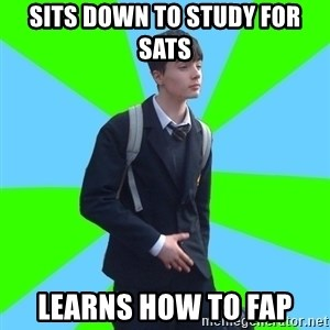 Impeccable School Child - sits down to study for sats learns how to fap