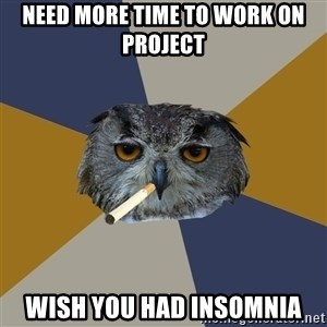 Art Student Owl - Need more time to work on project wish you had insomnia