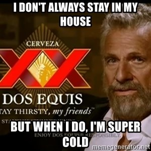 Dos Equis Man - i DON'T ALWAYS stay in my house but when i do, i'm super  cold