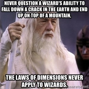 White Gandalf - Never question a wizard's ability to fall down a crack in the earth and end up on top of a mountain, The laws of dimensions never apply to wizards.