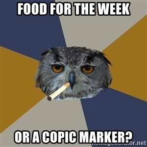 Art Student Owl - FOOD FOR THE WEEK OR A COPIC MARKER?