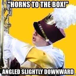 "Baffled Band Guy - ""Horns to the box!"" Angled slightly downward"