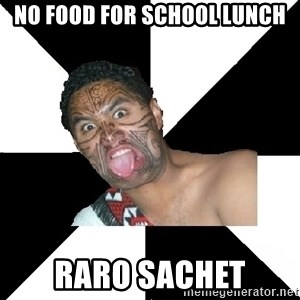 New Zealand - no food for school lunch raro sachet