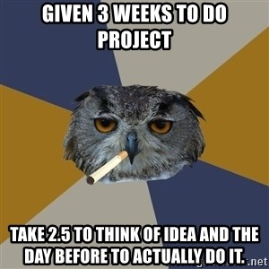 Art Student Owl - given 3 weeks to do project take 2.5 to think of idea and the day before to actually do it.