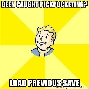 Fallout 3 - Been caught pickpocketing? Load previous save