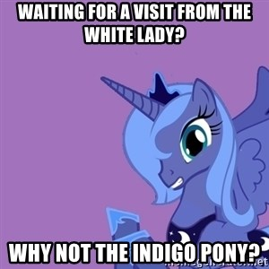 Why Not Luna? - waiting for a visit from the white lady?  why not the indigo pony?