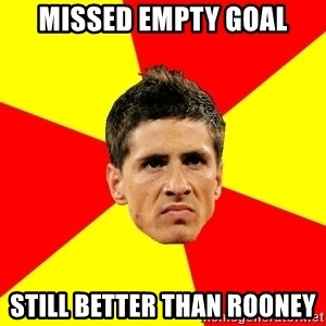 Fernando Torres Bitchface - missed empty goal still better than rooney