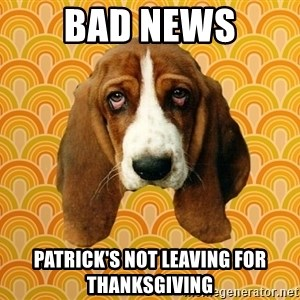 SAD DOG - Bad news Patrick's not leaving for Thanksgiving