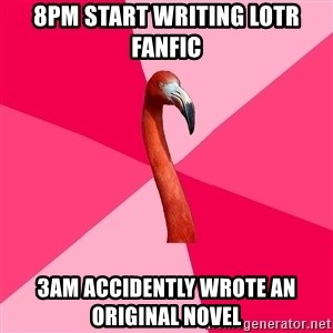 Fanfic Flamingo - 8pm start writing lotr fanfic 3am accidently wrote an original novel