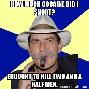 Charlie Sheen Winning - how much cocaine did i snort? Enought to kill two and a half men.