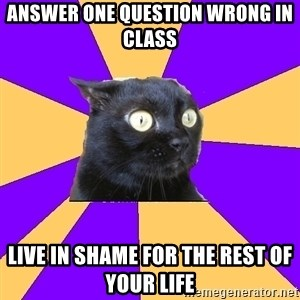 Anxiety Cat - answer one question wrong in class live in shame for the rest of your life