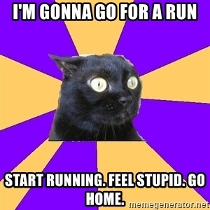Anxiety Cat - I'm gonna go for a run start running. feel stupid. go home.