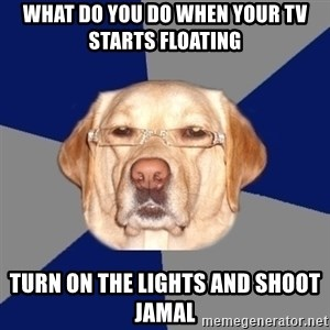 Racist Dog - what do you do when your tv starts floating turn on the lights and shoot jamal