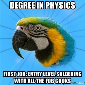 Biology Major Parrot - degree in physics first job: entry level soldering with all the FOB gooks