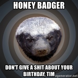Fearless Honeybadger - Honey badger don't give a shit about your birthday, tim