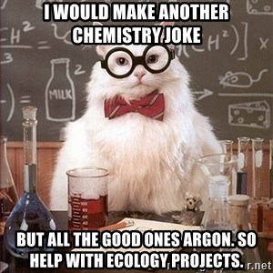 Science Cat - I would make another chemistry joke but all the good ones argon. so help with ecology projects.