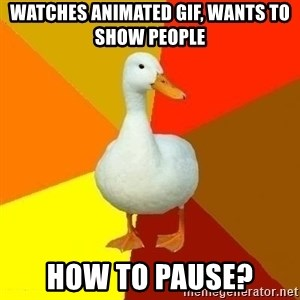 Technologyimpairedduck - Watches animated gif, wants to show people How to pause?