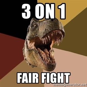 Raging T-rex - 3 on 1 Fair Fight