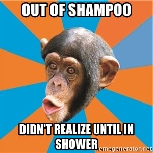 Stupid Monkey - Out of shampoo didn't realize until in shower
