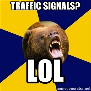 Berkeley Student Bear - traffic signals? lol