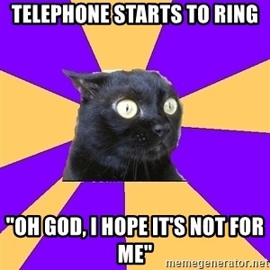 "Anxiety Cat - Telephone STARTS TO RING ""oh god, I HOPE IT'S NOT FOR ME"""
