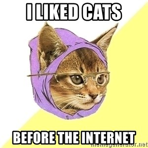 Hipster Cat - I Liked cats Before the internet