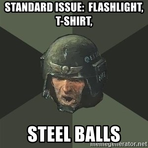 Advice Guardsman - Standard Issue:  Flashlight, t-shirt, STEEL BALLS
