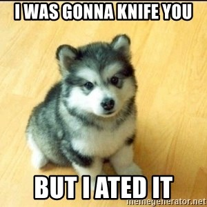 Baby Courage Wolf - I was gonna knife you but I ated it
