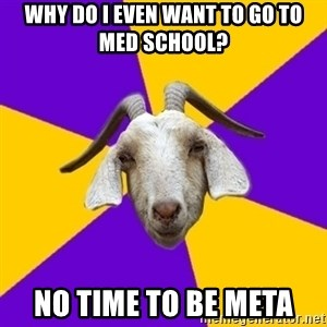 Premed Goat - Why do I even want to go to med school? No time to be meta