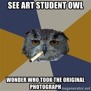 Art Student Owl - see art student owl wonder who took the original photograph