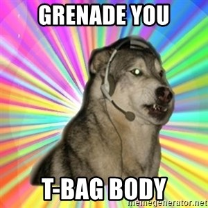 Gamer Dog - grenade you t-bag body