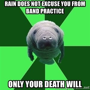 Marching Band Manatee - Rain does not excuse you from band practice only your death will