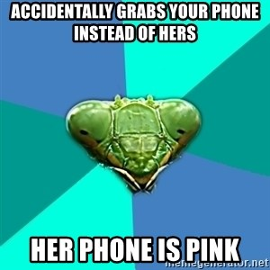 Crazy Girlfriend Praying Mantis - Accidentally grabs your phone instead of hers Her phone Is pink