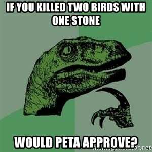 Philosoraptor - if you killed two birds with one stone would peta approve?