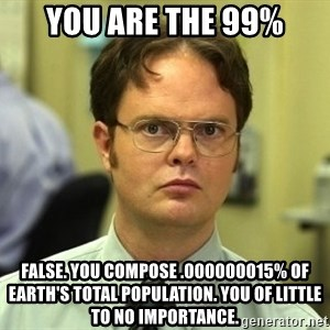 Dwight Schrute - You are the 99% False. You compose .000000015% of Earth's total population. You of little to no importance.