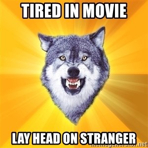Courage Wolf - tired in movie lay head on stranger