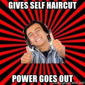 Bad Luck Chuck - Gives self haircut power goes out
