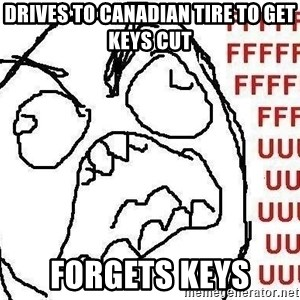 Fuuuu - Drives to canadian tire to get keys cut forgets keys